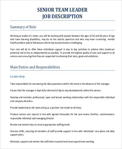 team leader responsibilities pdf