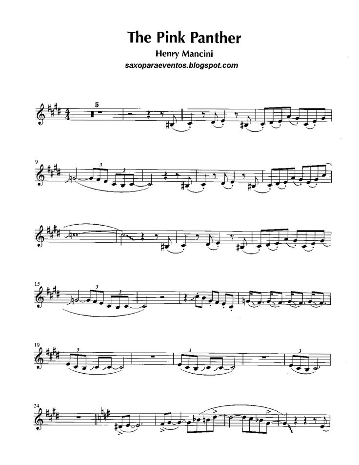 pink panther theme sheet music pdf