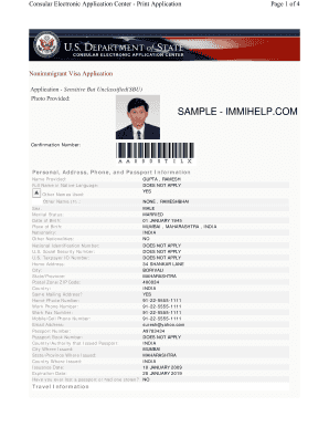 online nonimmigrant visa application ds 160 sample