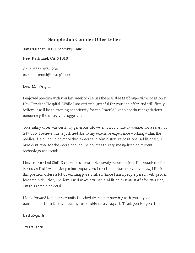 sample business counter offer letter