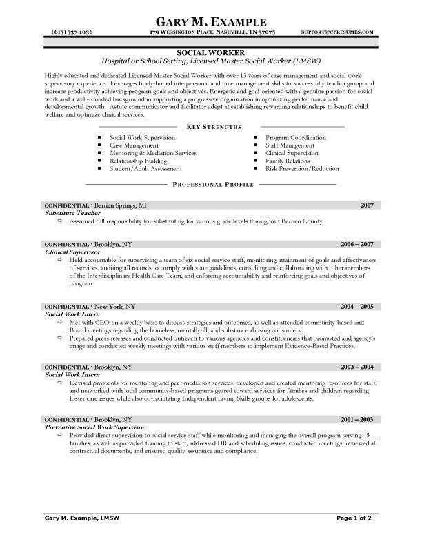 social work job application examples