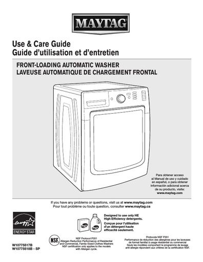 maytag commercial washing machine manual
