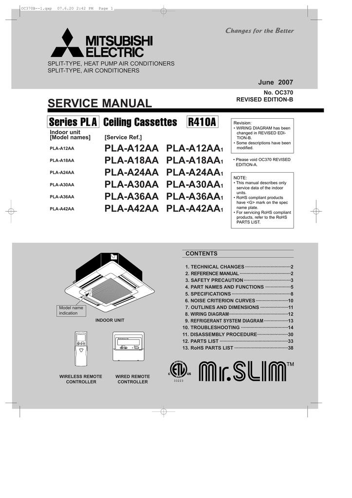 mitsubishi heat pump msz-ge60vad service manual