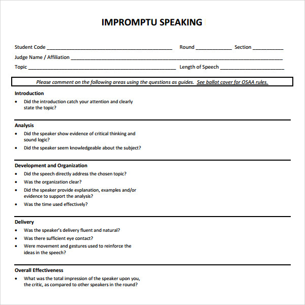 speech template pdf