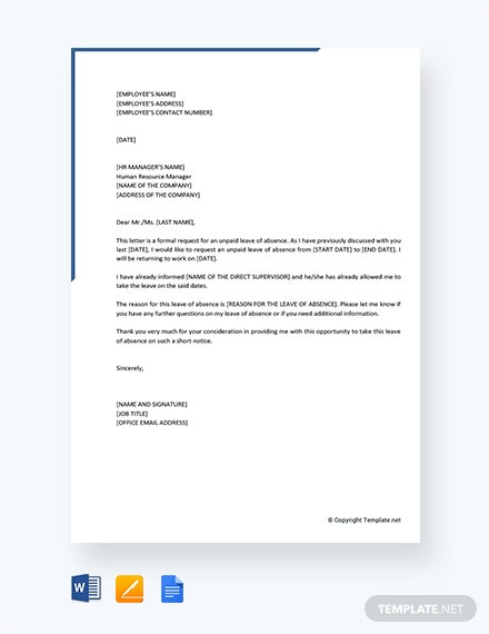 unpaid leave of absence letter sample