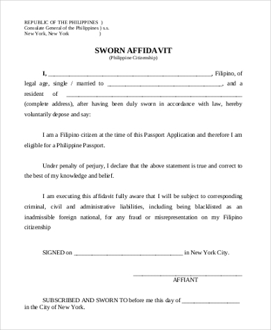 sworn statement affidavit sample