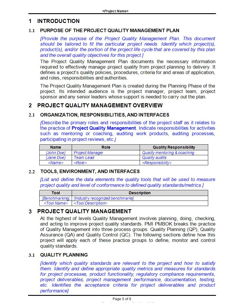 project quality management plan pdf