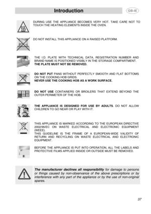 smeg sfa578x user manual