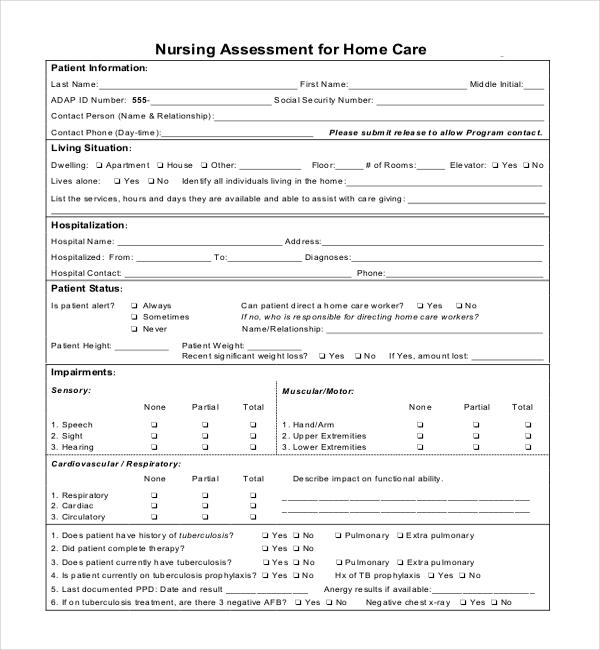 printable head to toe assessment form pdf