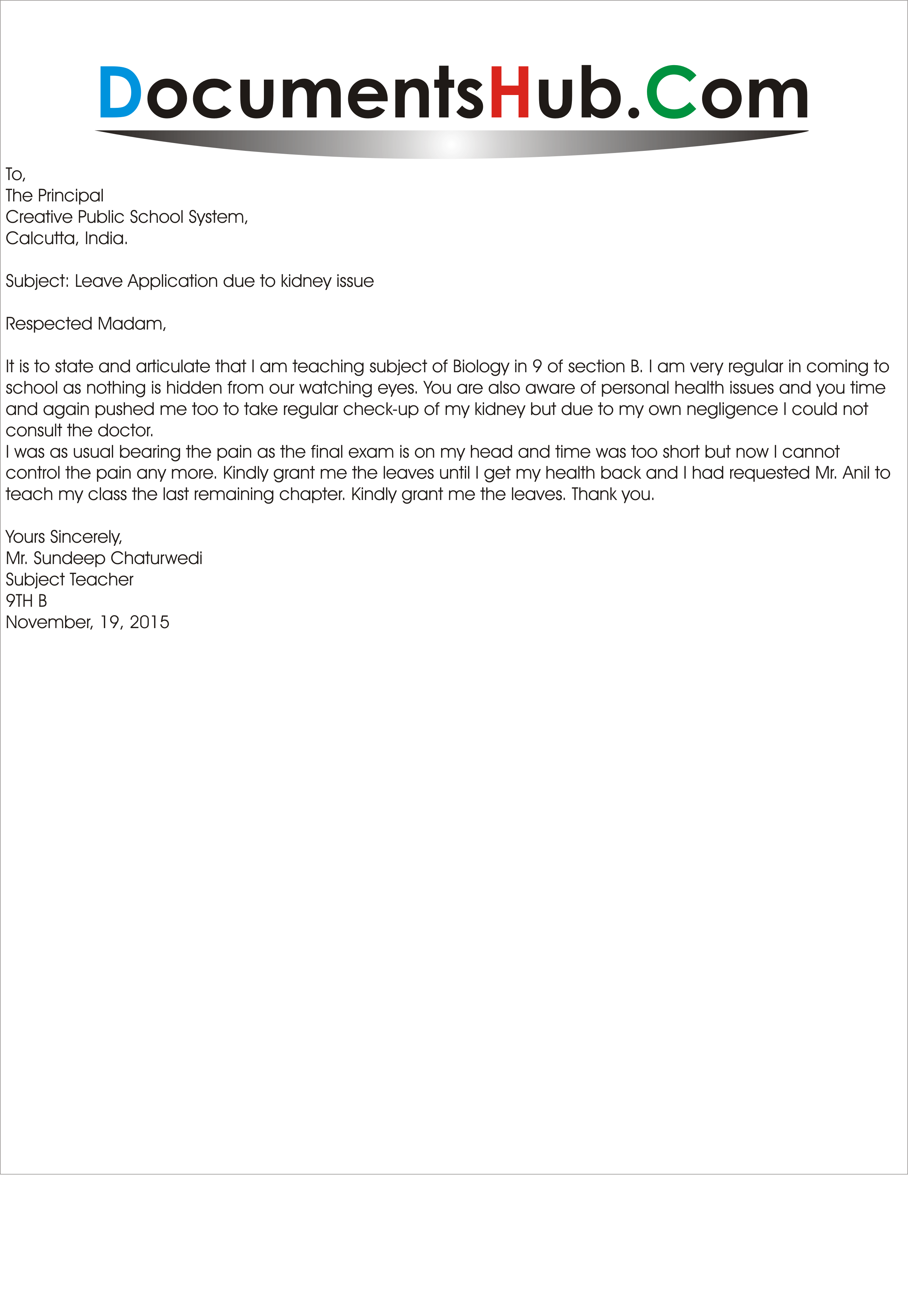 sick leave application sample for achool