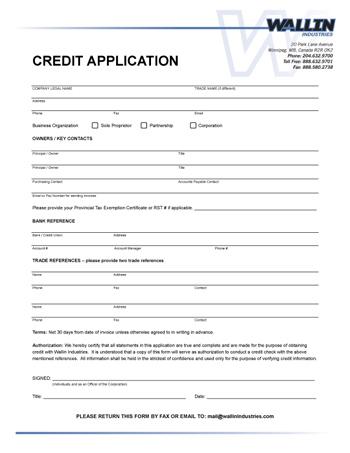 trade credit application form
