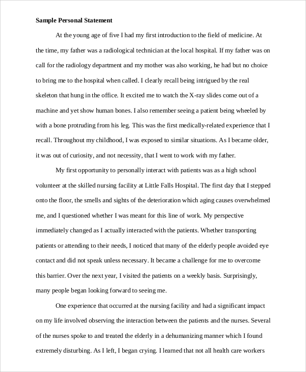 sample of personal statement for college nz