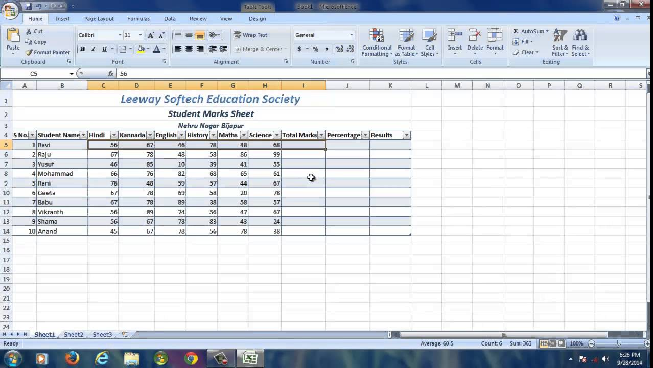 microsoft excel sheet sample