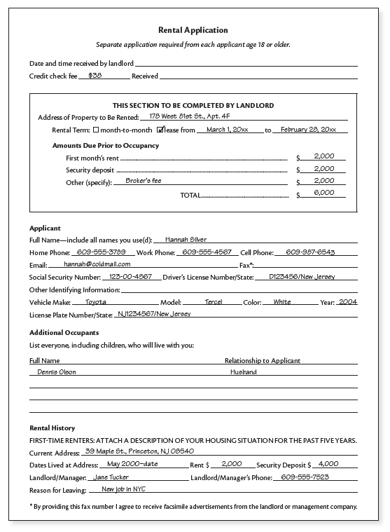 new tenant application form