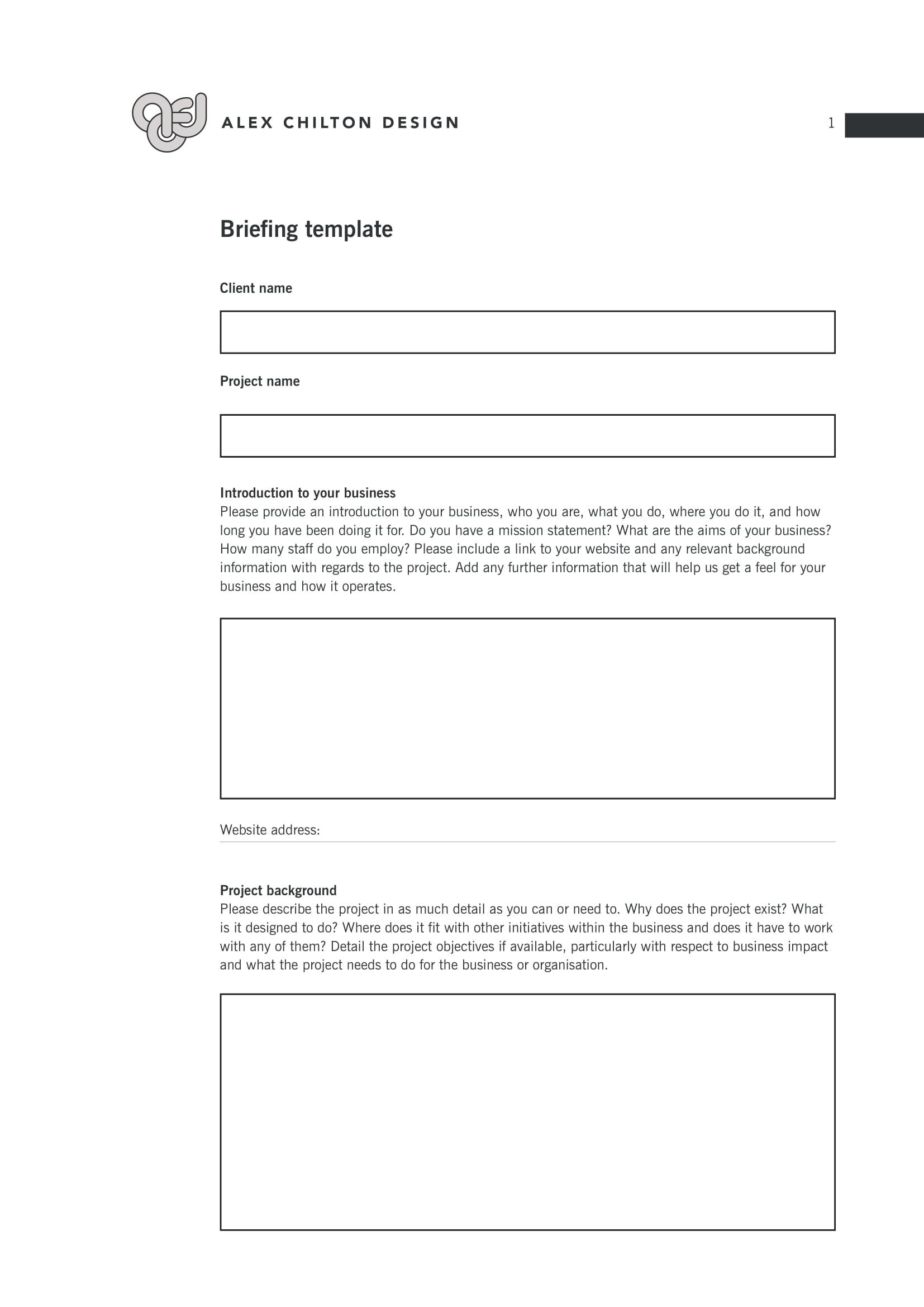 packaging design brief pdf