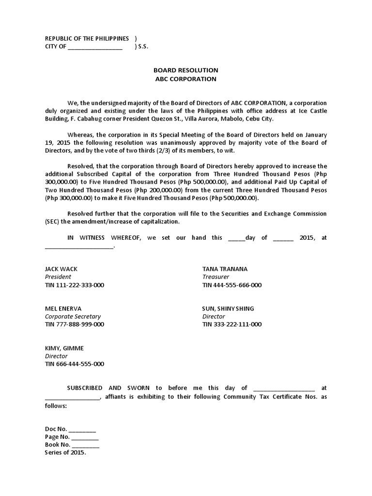 resolution letter sample pdf