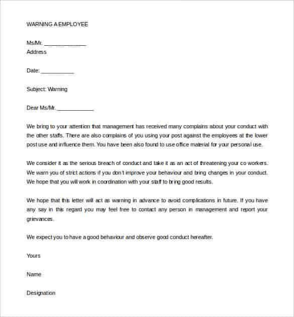 sample warning letter to employee for bad attitude