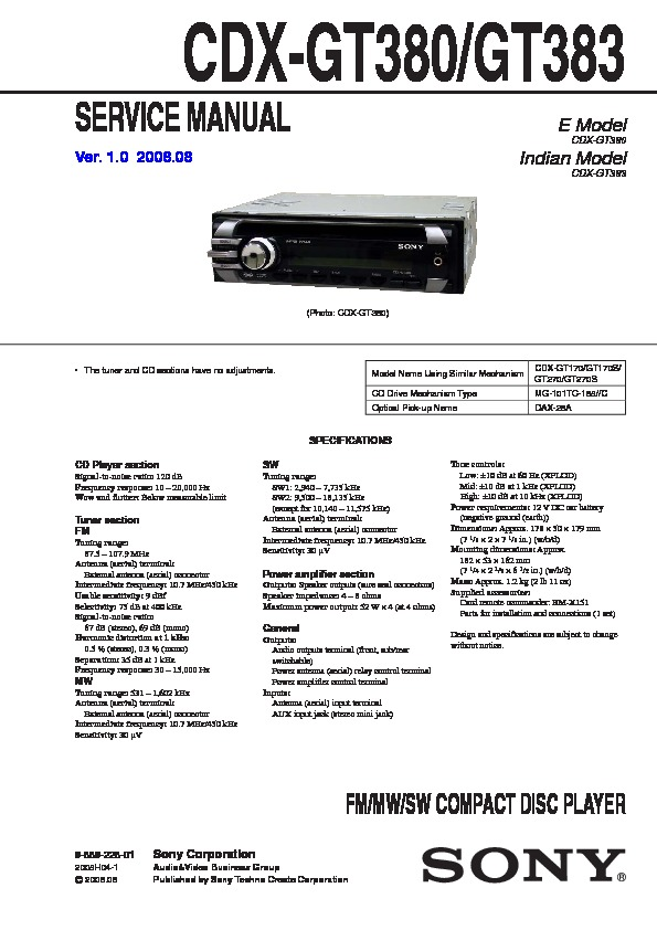 sony xplod cdx-gt180 owners manual