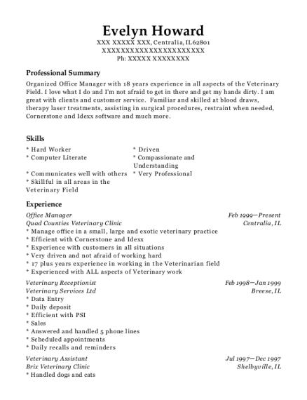 veterinary receptionist resume sample